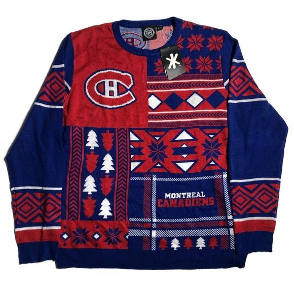 Mens Ugly Christmas Sweater.Nhl Montreal Canadiens Mens Ugly Christmas Sweater Nwt